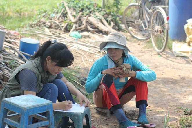 Youth taking a survey in Vietnam