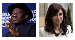 Images: Creative Commons, Flickr / World Economic Forum (Goodluck Jonathan) and Expectitiva Online (Cristina Kirchner)