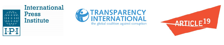 Logos for IPI, Transparency International and Article 19