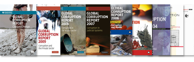 Cover images of past Global Corruption Reports