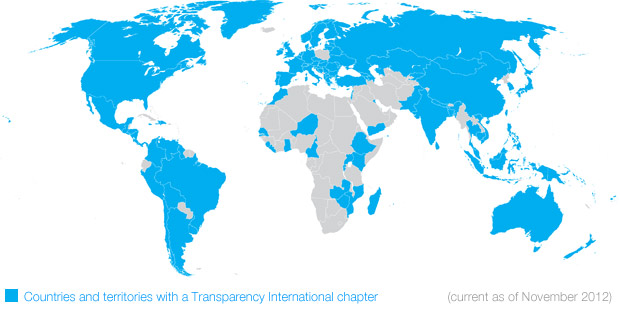 Map of Transparency International chapters, current as of November 2012